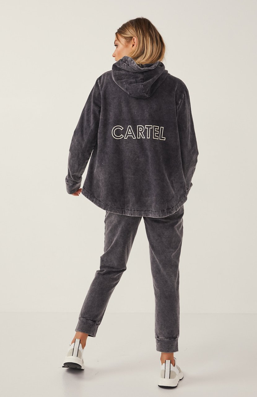 Cartel & Willow Dion Zip Up Hoodie Charcoal Stonewash
