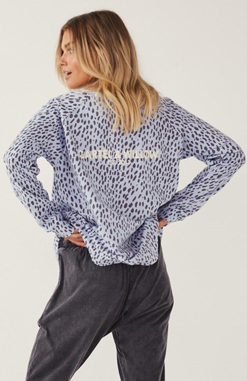 Cartel & Willow Gigi Sweater Blue Leopard