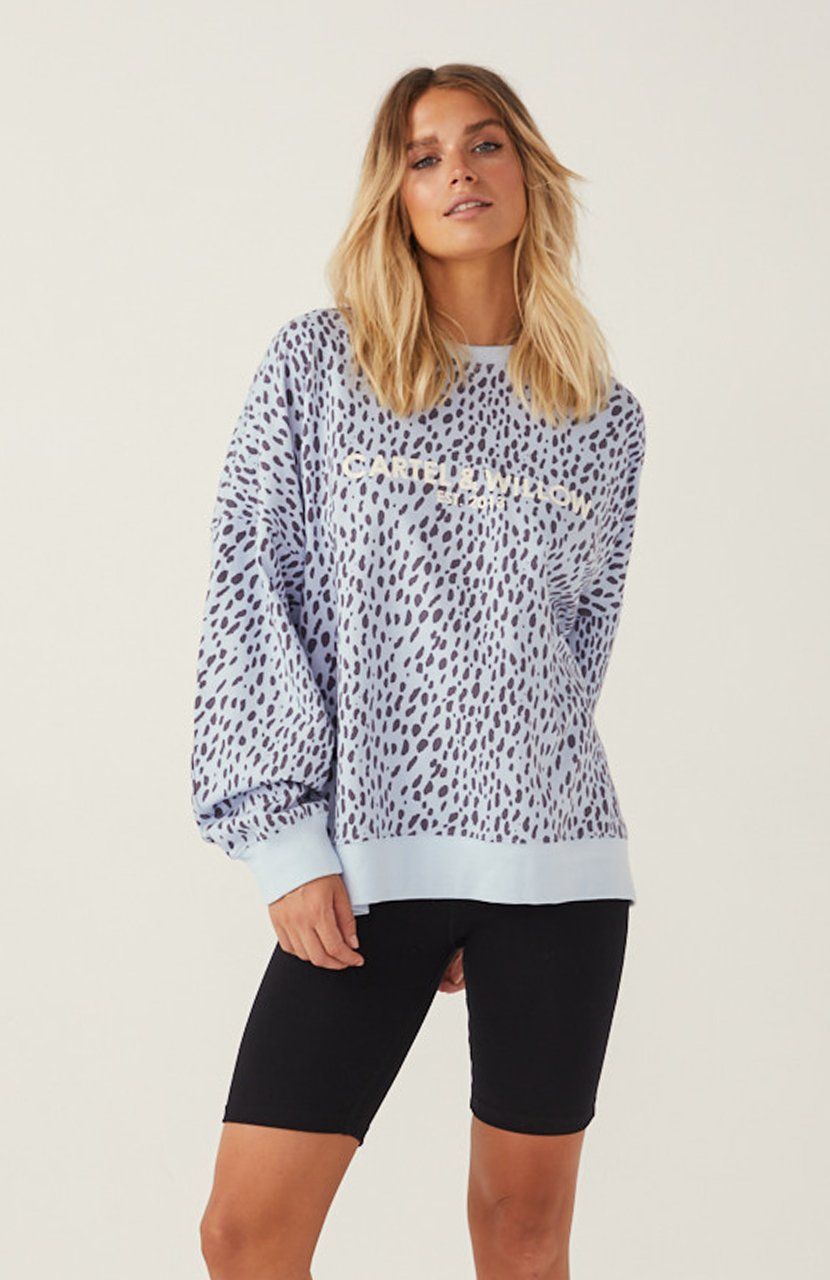 Cartel & Willow Piper Sweater Blue Leopard Print