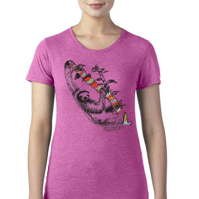 Sloth design on women's t shirt