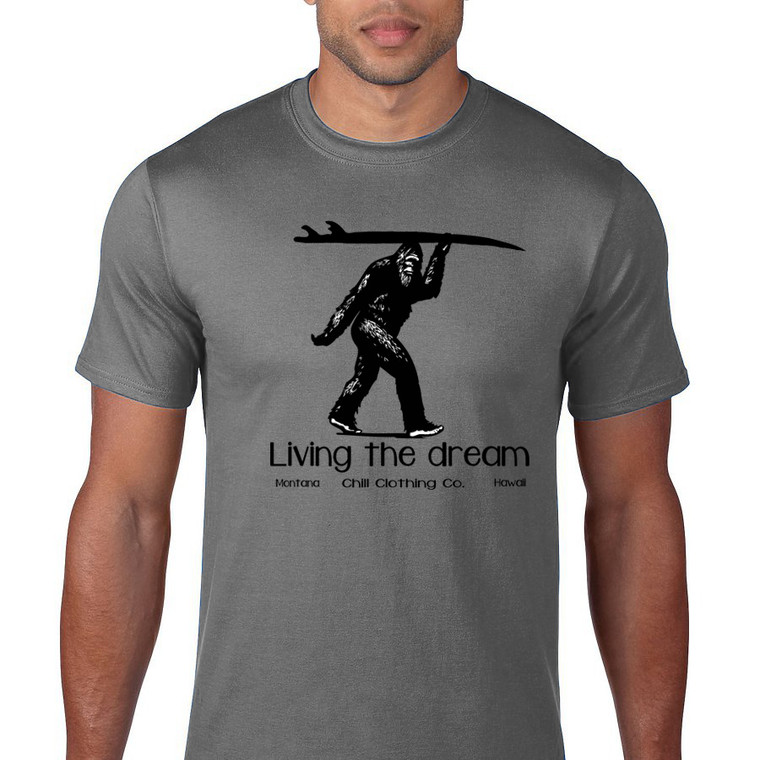 Sasquatch Surfer. Living the Dream men's t shirt. Grey