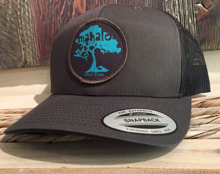 Mahalo Koa Tree Grey Trucker Hat
