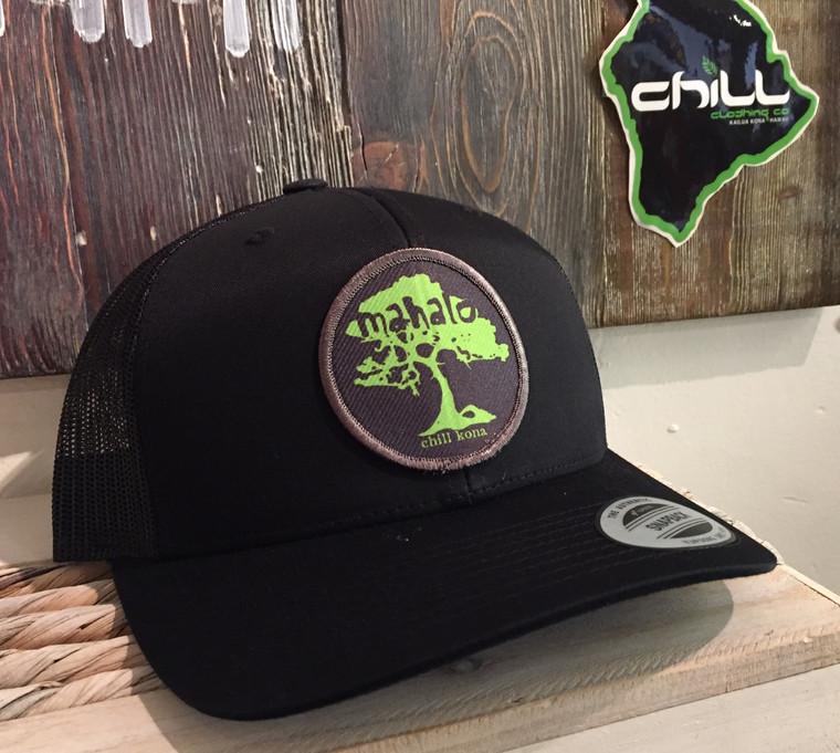 Mahalo Koa Tree Black Trucker Hat