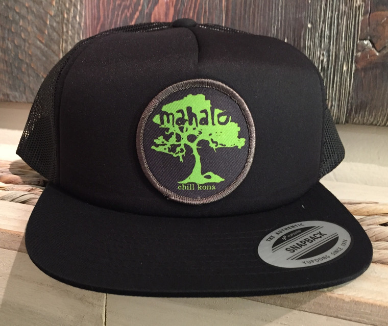 Mahalo Koa Tree Green / Black Flat Brim Trucker Hat