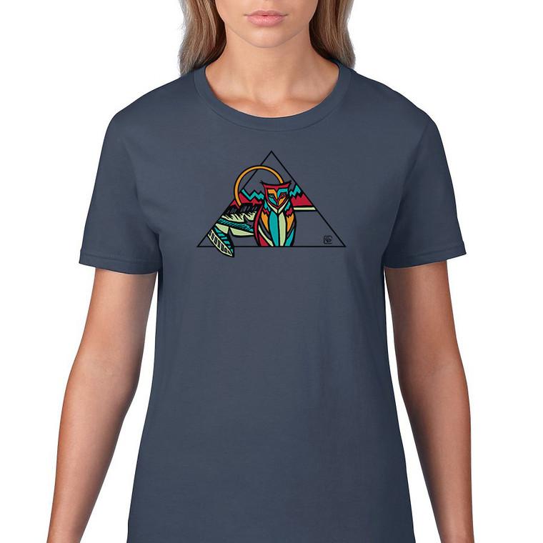 Owl geo women's t shirt. Color lake