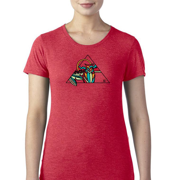 Owl geo women's t shirt. Red heather