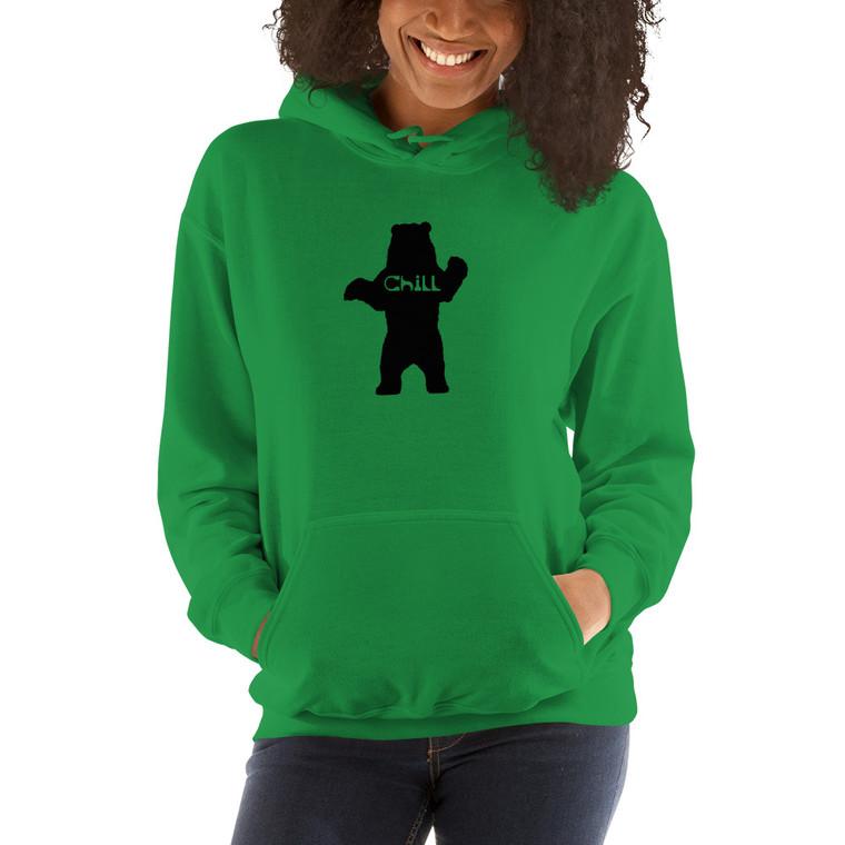 Female model wearing Irish Green Chill Bear hoodie