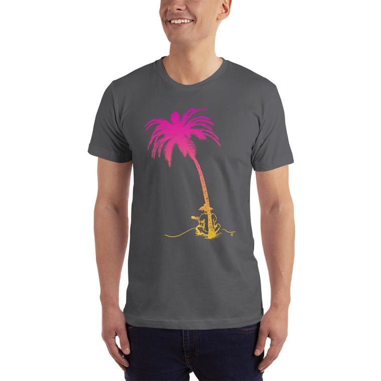 Model wearing Palm tree and ukulele player t shirt