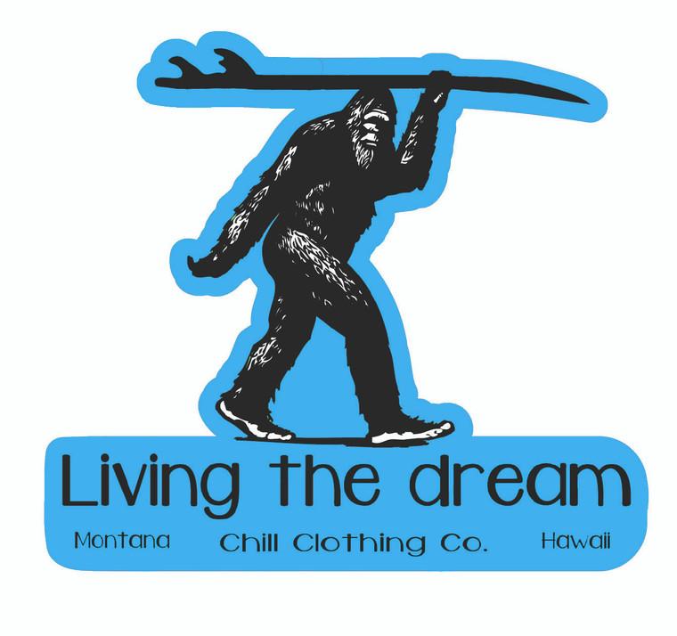 Sasquatch Surfer -Living the Dream Sticker blue