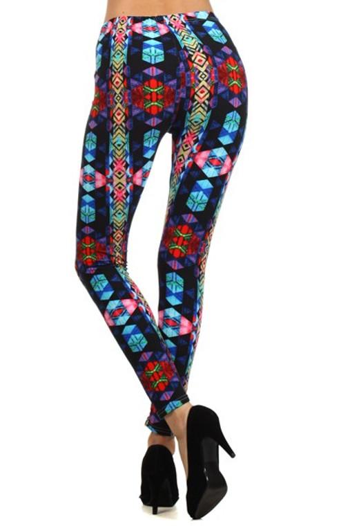 Leggings with Colorful Geometric Design