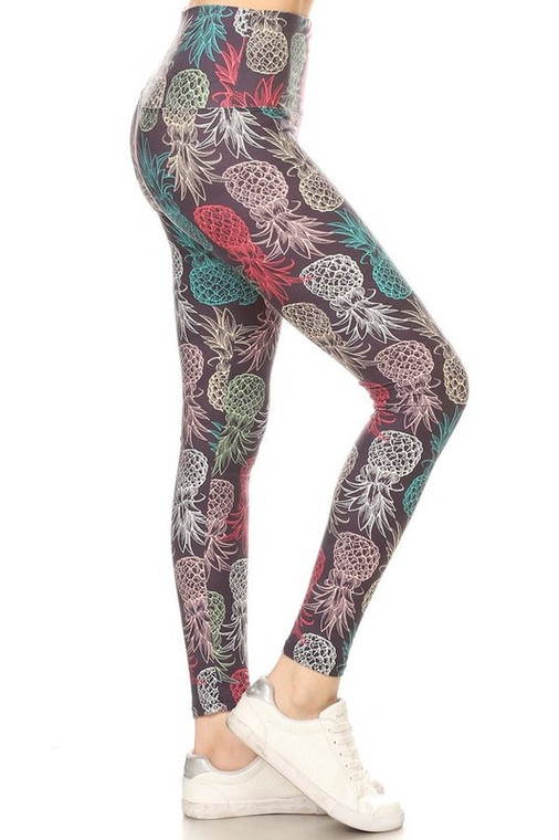 Leggings with Pineapple Print on Blue Background