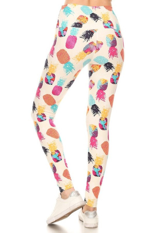 Leggings with Pineapple Print on Cream Background