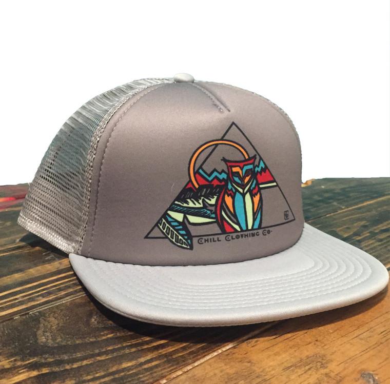 Owl Geo Trucker Hat Silver