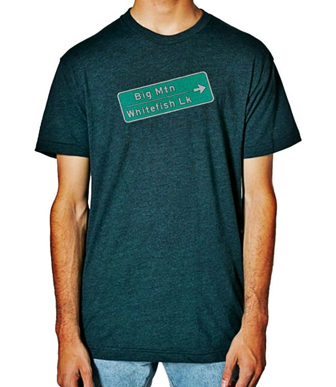 Big Mountain Whitefish Sign mens T shirt