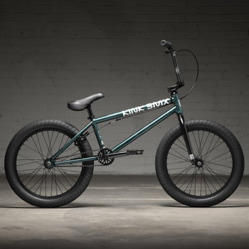 """Kink Launch 2022 Gloss Galaxy Green 20"""" BMX Bicycle Side View"""