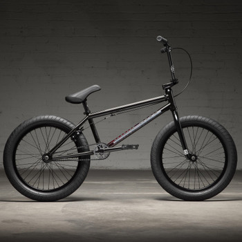 """Kink Whip 2022 Gloss Black Fade 20"""" BMX Bicycle Side View"""