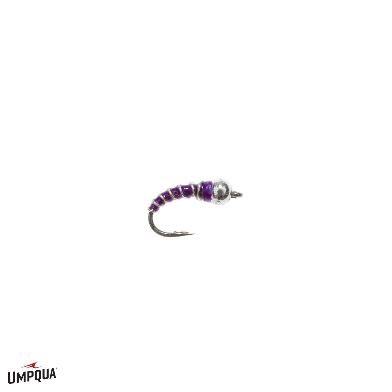 Chaud Motif Tungstène Zebra Midge Emerger FLY Violet Avec Nickel Bead Sz 12