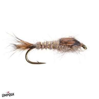 1 dozen Grey Ribbed Hare/'s Ear Bead Head fly fishing flies size 12# W// Free Box