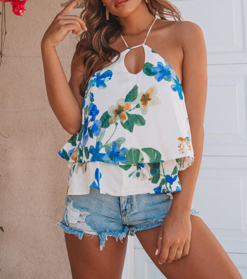 Printed Strappy Swing Tank