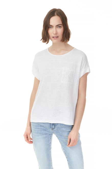 Charlie B Linen Top with Lace Pocket