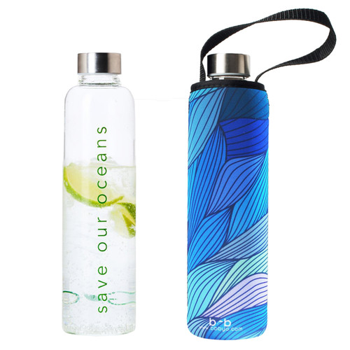 Glass is Greener Bottle + Carry Cover - Tide Print