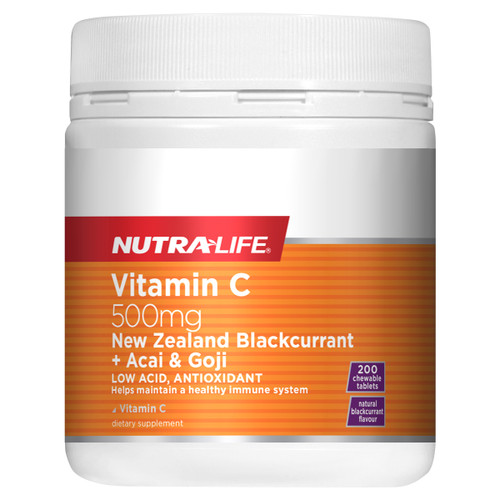 Vitamin C 500mg Blackcurrant + Acai & Goji