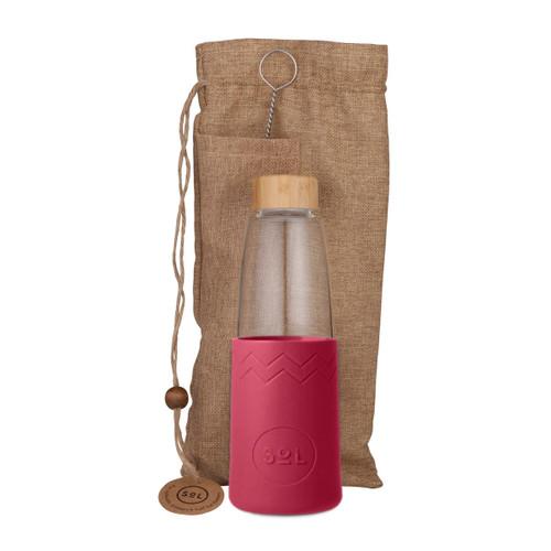 Hand-Blown Glass Bottle - Radiant Rose