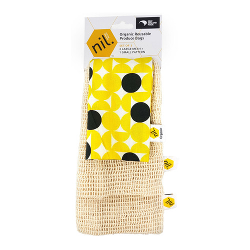 Organic Cotton Produce Bags - Honey Hive