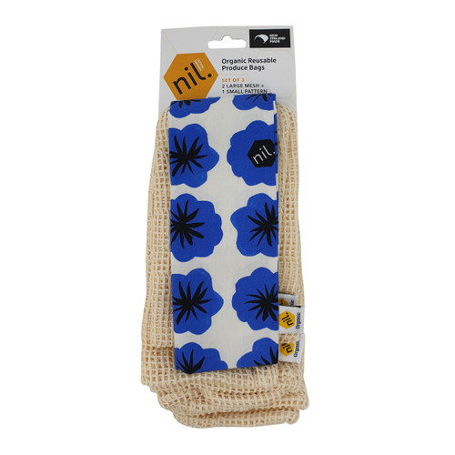 Organic Cotton Produce Bags - Blue Flower