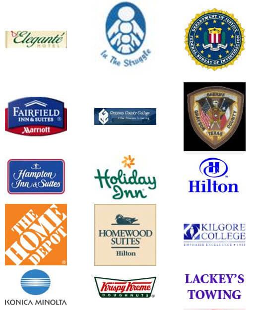 Hilton Hotels, Krispy Kreme, The Home Depot, Konica Minolta, Holiday Inn