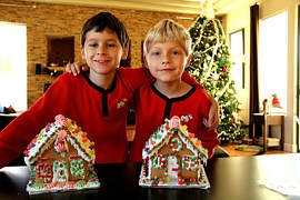 West Virginia_boys_Christmas_ginger bread house_tree_indoor_home_happy