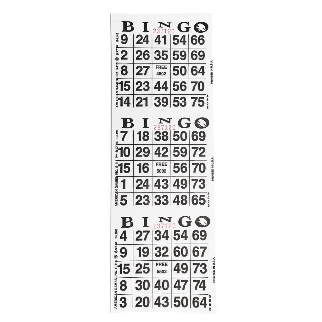 3on Vertical Die Cut Pushout Bingo Paper Game Cards - White - 250 sheets per pack - SKU W3DCWH