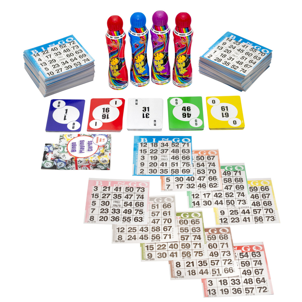 Home Bingo Game Set - 100 Paper Bingo Cards per Color - 9 Colors - 900 Bingo Cards in Total - 4 Dab-O-Ink Bingo Daubers - Deck of Bingo Calling Cards - SKU HBA1S9