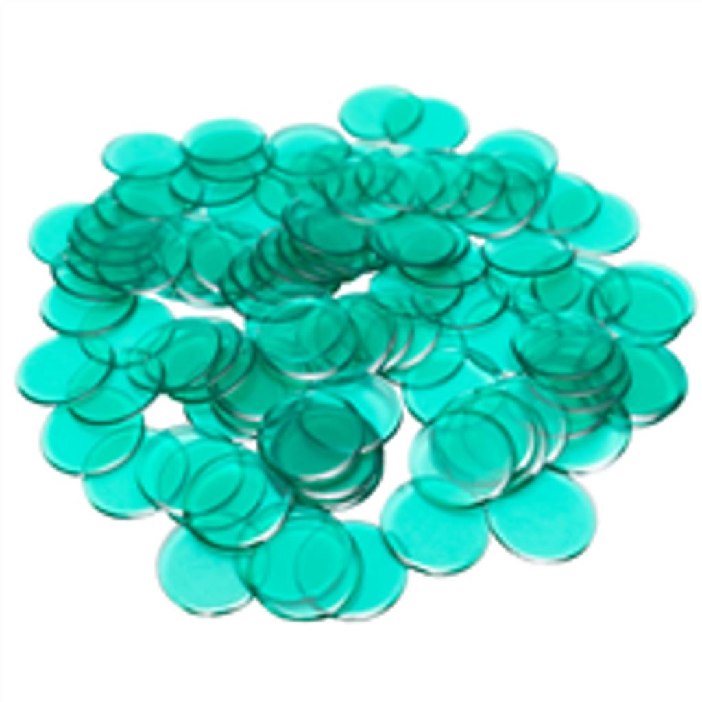 """7/8"""" Green Plastic Bingo Chips"""