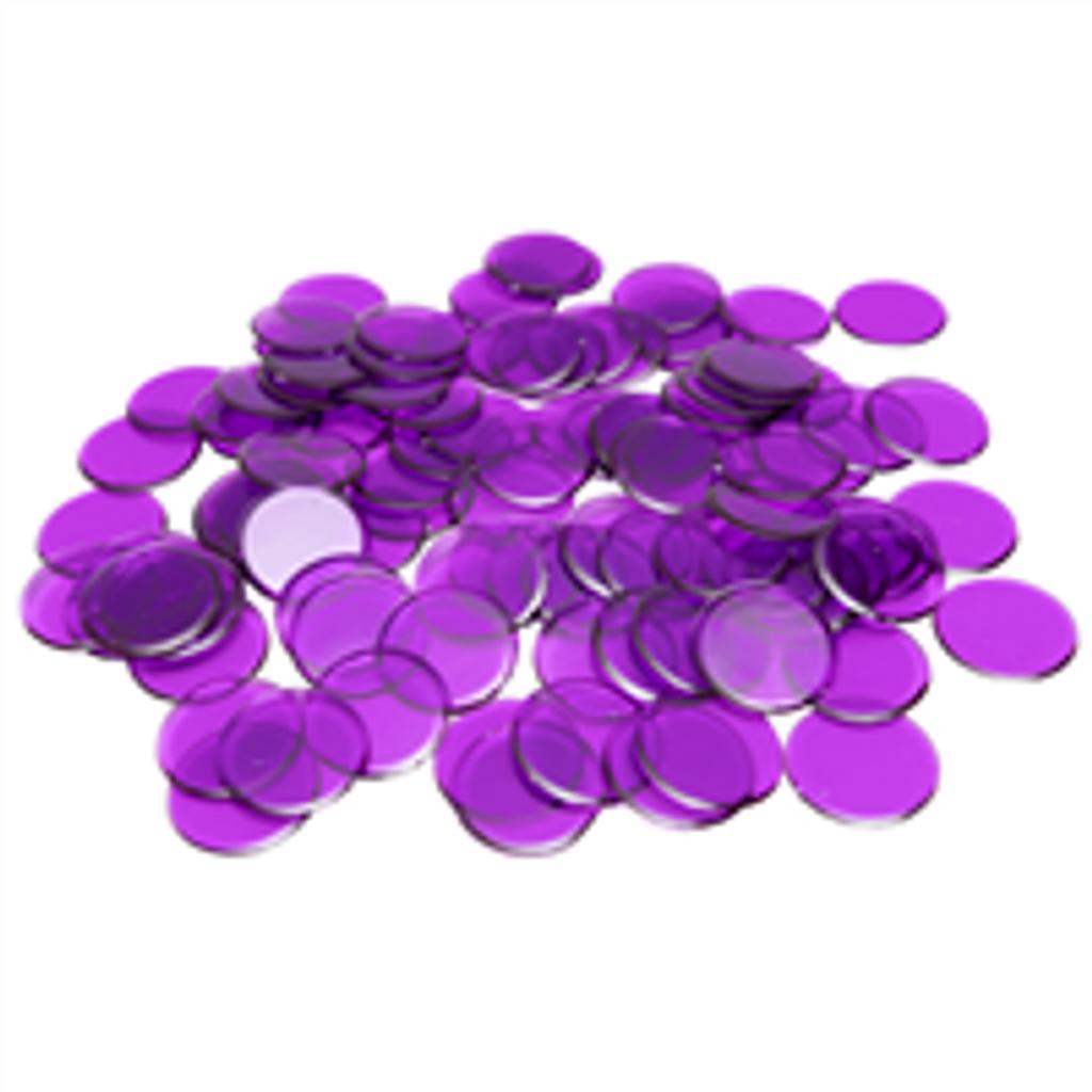 "7/8"" Purple Plastic Bingo Chip"