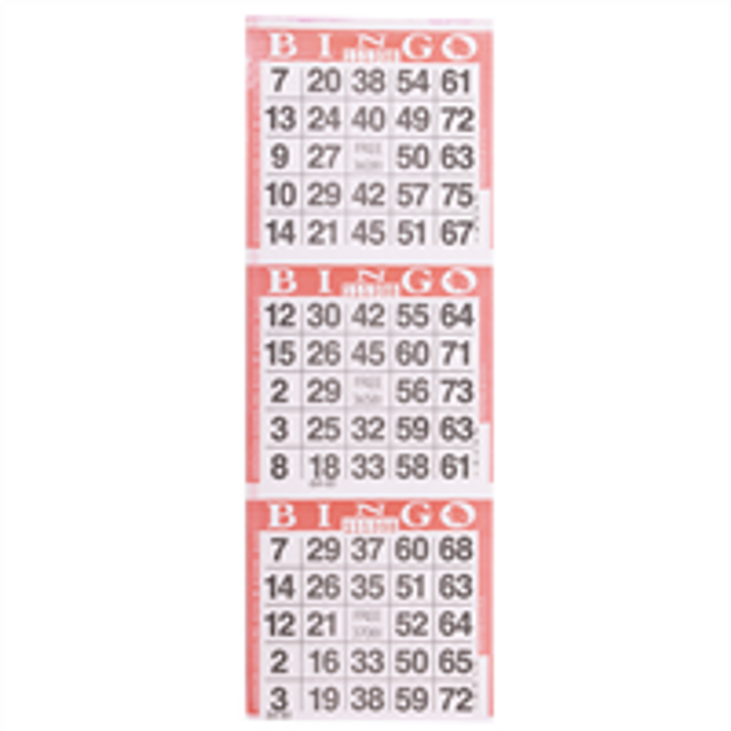 3 on Red Bingo Cards - 1000 sh