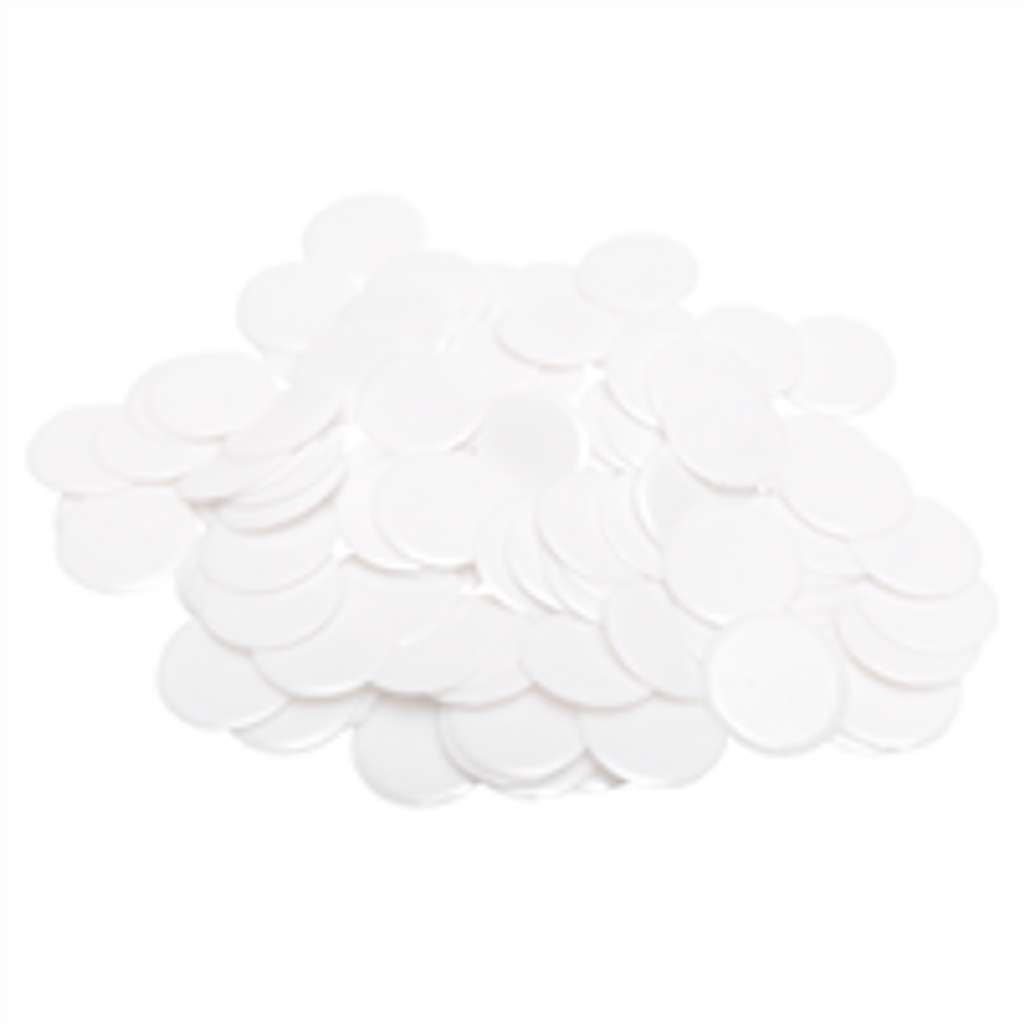 """7/8"""" Solid White Plastic Chips, 100ct"""
