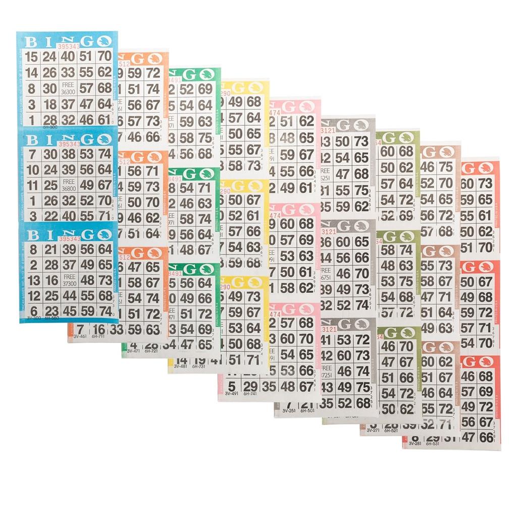 Bingo Paper Game Cards - 3 cards - 9 sheets - 100 books per pack - SKU AG3V9