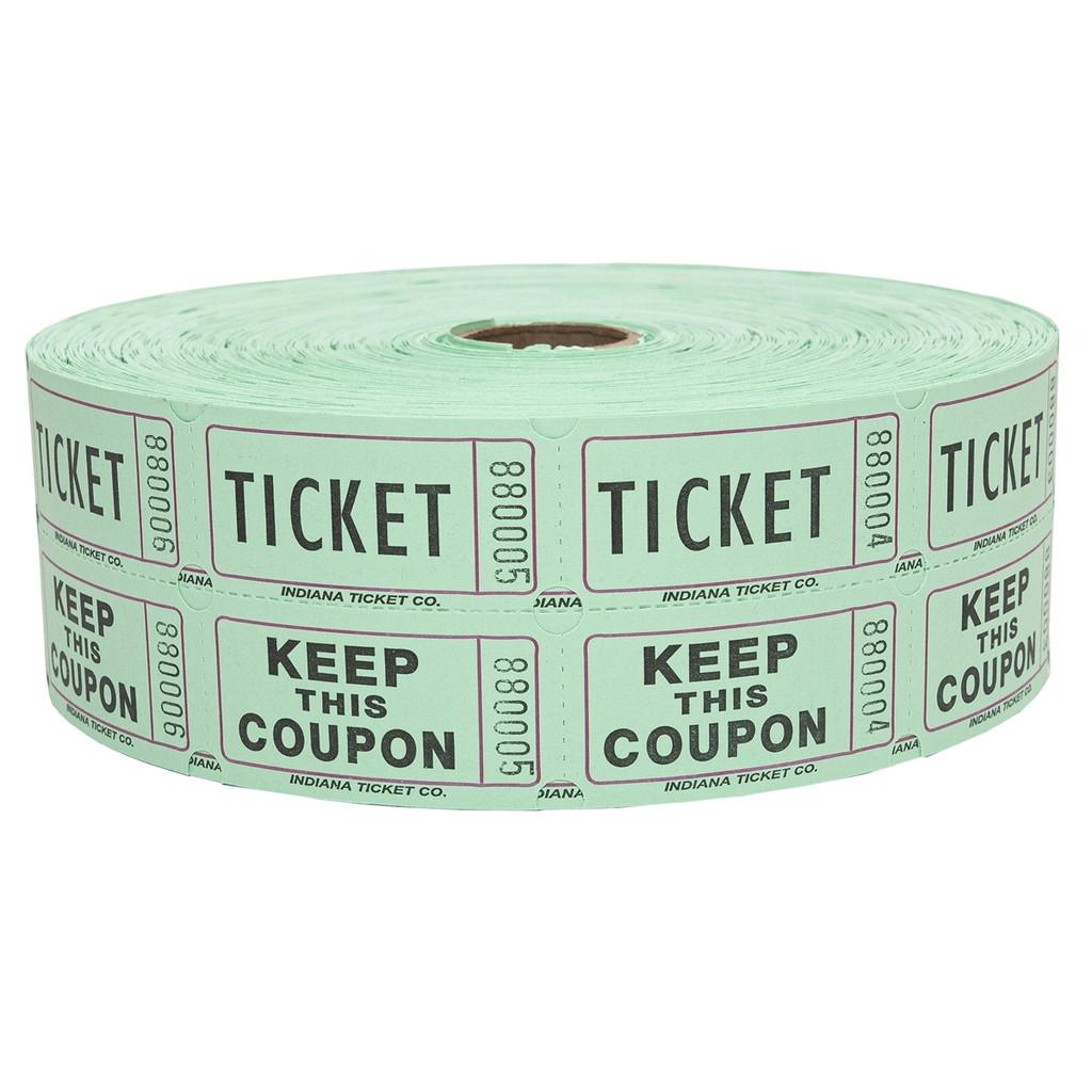 Double Roll Tickets - Green - 50/50 Raffle Tickets - SKU M01211GR