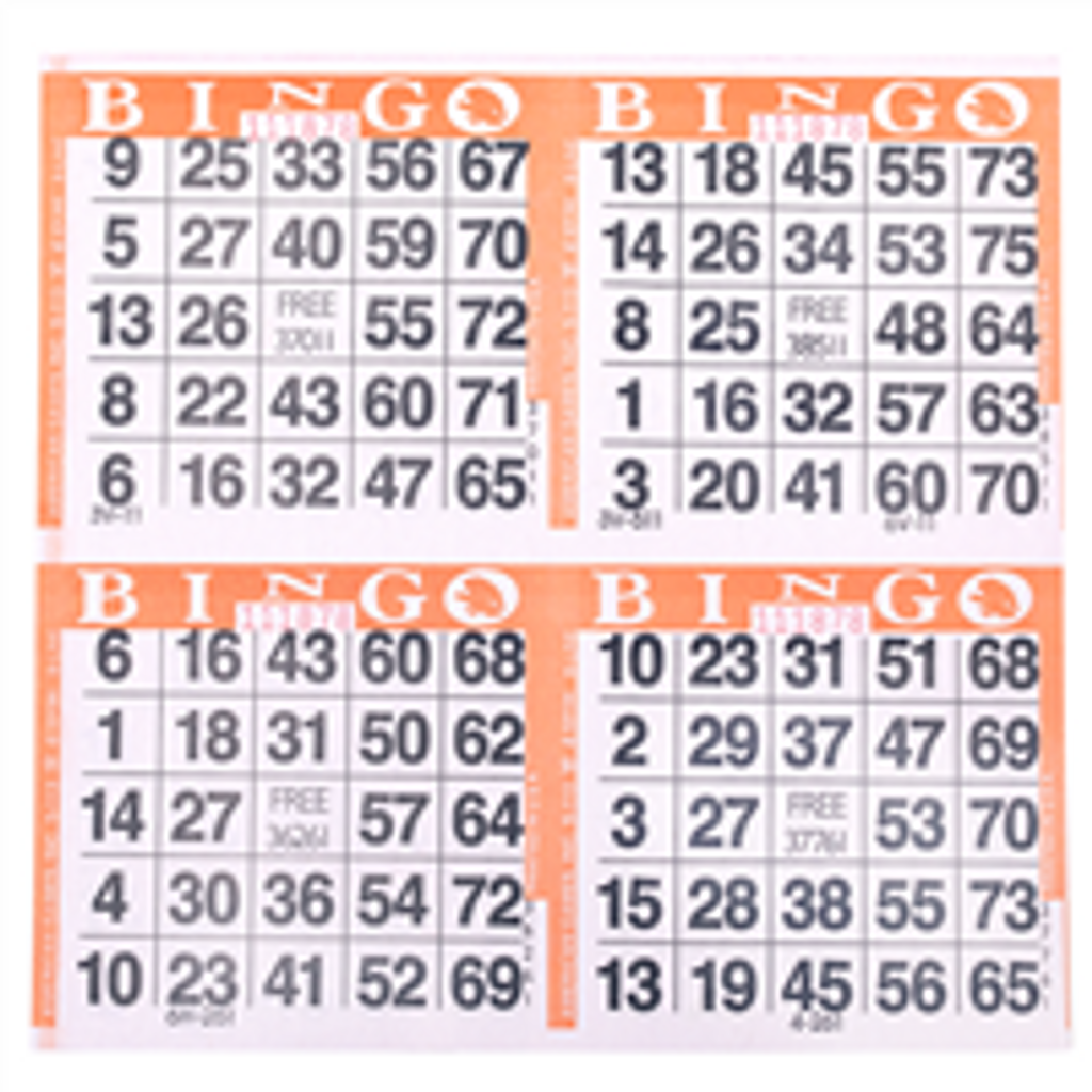 4on Orange Bingo Paper Game Cards - 750 per pack - SKU AG4OR