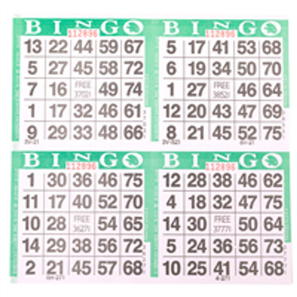 4 on Green Bingo Cards - 750 s