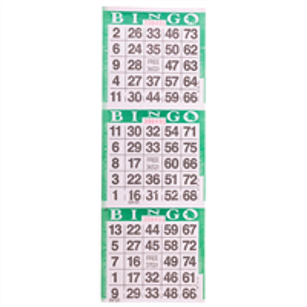 3 on Green Bingo Cards - 1000