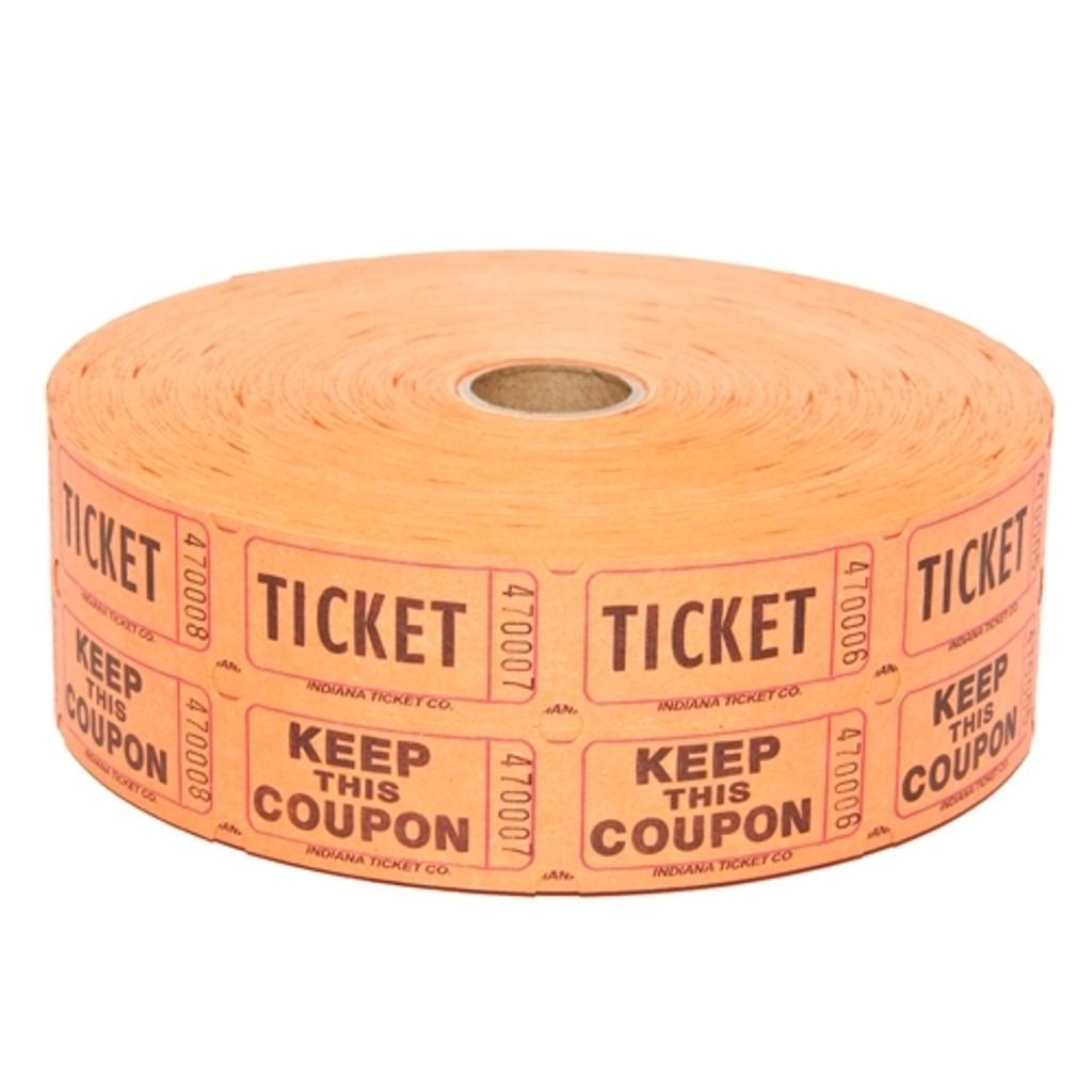 Double Roll Tickets - Orange - 50/50 Raffle Tickets - SKU M01211OR