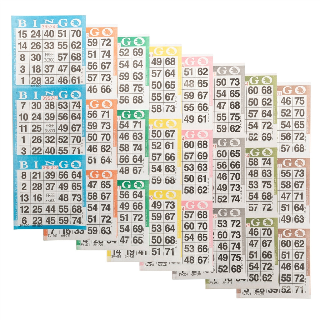 Bingo Paper Game Cards - 3 cards - 8 sheets - 100 books per pack - SKU AG3V8