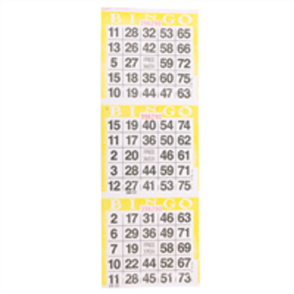 3on Yellow Bingo Paper Game Cards - Vertical - 1000 per pack - SKU AG3VYL