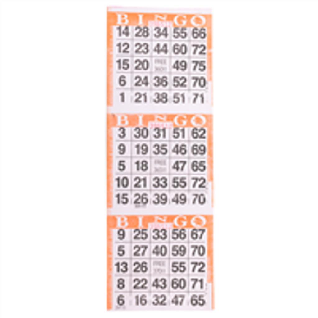 3on Orange Bingo Paper Game Cards - Vertical - 1000 per pack - SKU AG3VOR