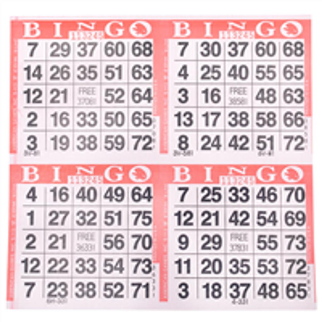 4on Red Bingo Cards, 750 sheet