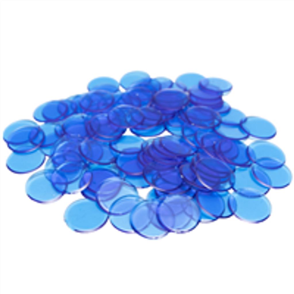 "7/8"" Blue Plastic Bingo Chips,"