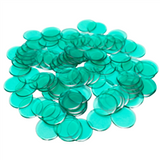 "7/8"" Green Plastic Bingo Chips"
