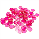 Magnetic Bingo Chips - Pink - 100 chips - 3/4 inch size - SKU B007260